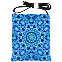 Blue Sea Jewel Mandala Shoulder Sling Bag by Zandiepants