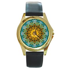 Blue Yellow Ocean Star Flower Mandala Round Gold Metal Watch by Zandiepants