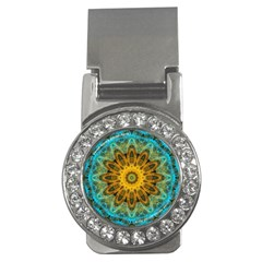 Blue Yellow Ocean Star Flower Mandala Money Clip (cz) by Zandiepants