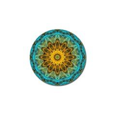 Blue Yellow Ocean Star Flower Mandala Golf Ball Marker (4 Pack) by Zandiepants