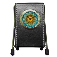 Blue Yellow Ocean Star Flower Mandala Pen Holder Desk Clock by Zandiepants