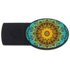 Blue Yellow Ocean Star Flower Mandala Usb Flash Drive Oval (4 Gb) by Zandiepants