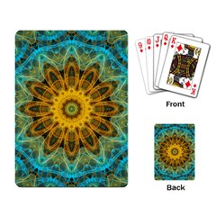 Blue Yellow Ocean Star Flower Mandala Playing Cards Single Design by Zandiepants