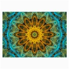 Blue Yellow Ocean Star Flower Mandala Large Glasses Cloth by Zandiepants
