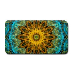 Blue Yellow Ocean Star Flower Mandala Medium Bar Mat by Zandiepants