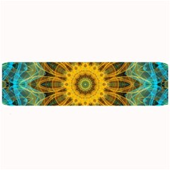 Blue Yellow Ocean Star Flower Mandala Large Bar Mat by Zandiepants
