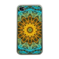 Blue Yellow Ocean Star Flower Mandala Apple Iphone 4 Case (clear) by Zandiepants