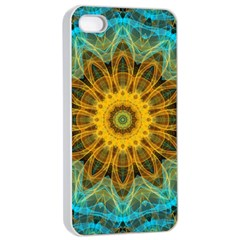 Blue Yellow Ocean Star Flower Mandala Apple Iphone 4/4s Seamless Case (white) by Zandiepants