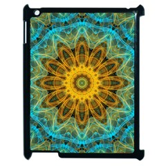 Blue Yellow Ocean Star Flower Mandala Apple Ipad 2 Case (black) by Zandiepants