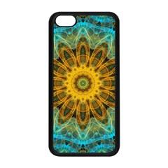 Blue Yellow Ocean Star Flower Mandala Apple Iphone 5c Seamless Case (black) by Zandiepants