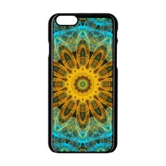 Blue Yellow Ocean Star Flower Mandala Apple Iphone 6/6s Black Enamel Case by Zandiepants
