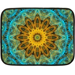 Blue Yellow Ocean Star Flower Mandala Double Sided Fleece Blanket (mini) by Zandiepants