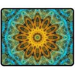Blue Yellow Ocean Star Flower Mandala Fleece Blanket (medium) by Zandiepants