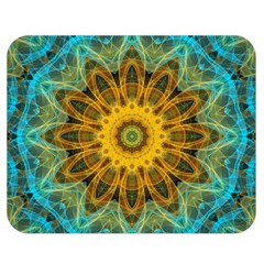 Blue Yellow Ocean Star Flower Mandala Double Sided Flano Blanket (medium) by Zandiepants