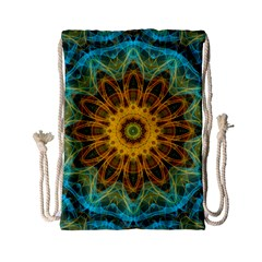 Blue yellow Ocean Star flower mandala Drawstring Bag (Small)