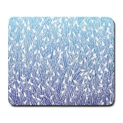 Blue Ombre Feather Pattern, White, Large Mousepad by Zandiepants