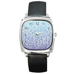 Blue Ombre Feather Pattern, White, Square Metal Watch by Zandiepants