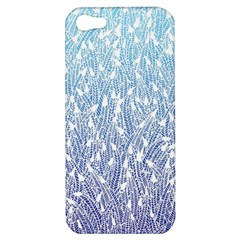 Blue Ombre Feather Pattern, White, Apple Iphone 5 Hardshell Case by Zandiepants