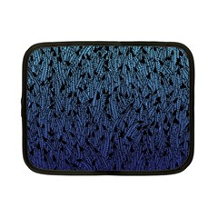 Blue Ombre Feather Pattern, Black, Netbook Case (small) by Zandiepants