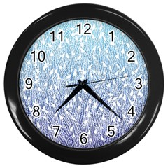 Blue Ombre Feather Pattern, White, Wall Clock (black) by Zandiepants