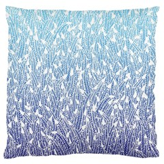 Blue Ombre Feather Pattern, White, Standard Flano Cushion Case (two Sides) by Zandiepants