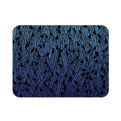 Blue Ombre Feather Pattern, Black, Double Sided Flano Blanket (mini) by Zandiepants