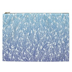 Blue Ombre Feather Pattern, White, Cosmetic Bag (xxl) by Zandiepants