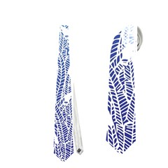 Blue Ombre Feather Pattern, White, Necktie (two Side) by Zandiepants