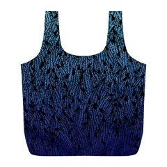 Blue Ombre Feather Pattern, Black, Full Print Recycle Bag (l) by Zandiepants