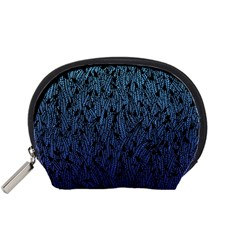Blue Ombre Feather Pattern, Black, Accessory Pouch (small) by Zandiepants