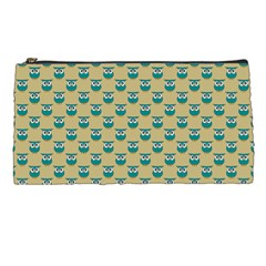 Small Teal Owls On Ecru Pencil Cases by CircusValleyMall