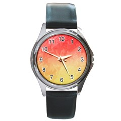 Ombre Orange Yellow Round Metal Watch by BrightVibesDesign