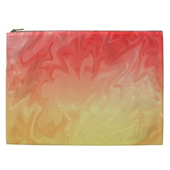 Ombre Orange Yellow Cosmetic Bag (XXL)  by BrightVibesDesign