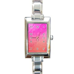 Ombre Pink Orange Rectangle Italian Charm Watch by BrightVibesDesign