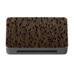 Brown Ombre Feather Pattern, Black, Memory Card Reader With Cf by Zandiepants