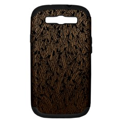 Brown Ombre Feather Pattern, Black, Samsung Galaxy S Iii Hardshell Case (pc+silicone) by Zandiepants