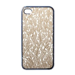 Brown Ombre feather pattern, white, Apple iPhone 4 Case (Black) by Zandiepants