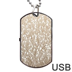 Brown Ombre Feather Pattern, White, Dog Tag Usb Flash (one Side) by Zandiepants
