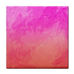 Ombre Pink Orange Tile Coasters by BrightVibesDesign