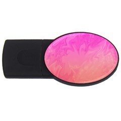 Ombre Pink Orange USB Flash Drive Oval (1 GB)  by BrightVibesDesign