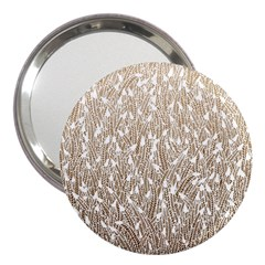 Brown Ombre Feather Pattern, White, 3  Handbag Mirror by Zandiepants
