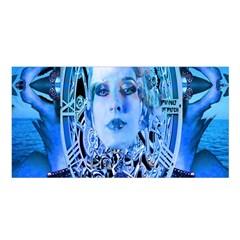 Clockwork Blue Satin Shawl by icarusismartdesigns