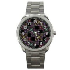 Ornate Boho Patchwork Sport Metal Watch by dflcprints