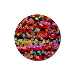 Colorful Brush Strokes                                             			rubber Coaster (round) by LalyLauraFLM