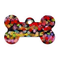Colorful Brush Strokes                                             dog Tag Bone (one Side) by LalyLauraFLM