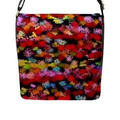 Colorful Brush Strokes                                             flap Closure Messenger Bag (l) by LalyLauraFLM