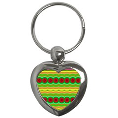 Circles And Waves                                              key Chain (heart) by LalyLauraFLM