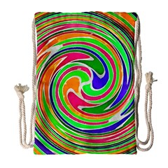Colorful Whirlpool Watercolors                                                Large Drawstring Bag by LalyLauraFLM
