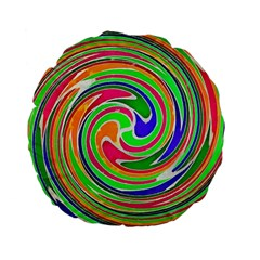 Colorful Whirlpool Watercolors                                                standard 15  Premium Flano Round Cushion by LalyLauraFLM