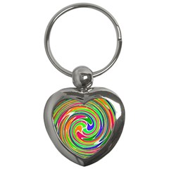 Colorful whirlpool watercolors                                                Key Chain (Heart) by LalyLauraFLM